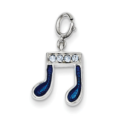 Sears Expired goldia Sterling Silver Preciosa Crystal & Blue Enamel Music Note Charm