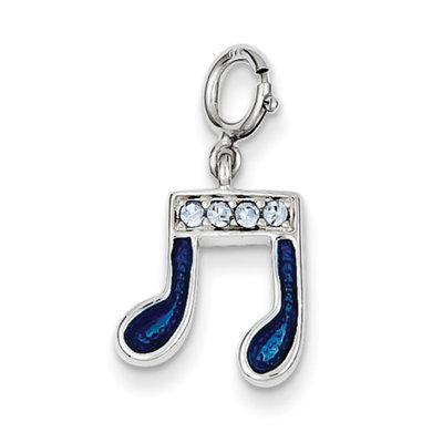 Sears Expired goldia Sterling Silver Preciosa Crystal & Blue Enamel Music Note Charm