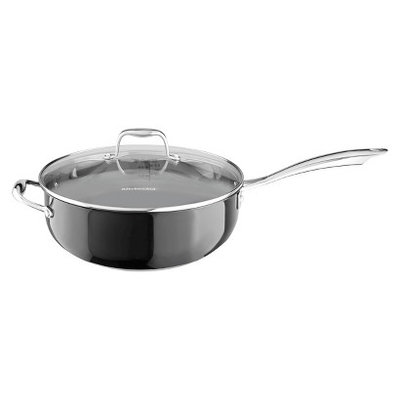 KitchenAid 6 Quart Stainless Steel Chefs Pan with Lid - Black