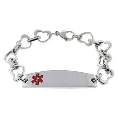 Hope Paige Medical ID Stainless Steel Heartlink Bracelet - Size 6.75