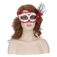 Seasons Women's Day of the Dead Feathered Masquerade Mask - Red/White