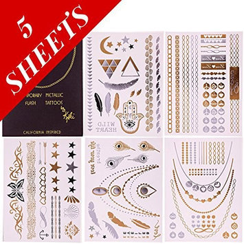 Premium Temporary Metallic Flash Jewelry Tattoos By Kiki - 5 Sheets- 100% Risk Free Guarantee - Best Gold and Silver Jewelry Rings, Armbands, Necklaces and Designs