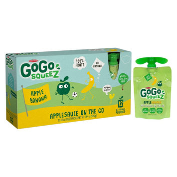 GoGo squeeZ Applesauce On The Go Apple Banana Pouches 3.2 oz 12 ct