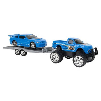 New Bright RC Truck & Trailer Set - Ford F-150/Mustang