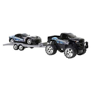 New Bright Industries 1:24 R/C Custom Cruiser Play Set with Trailer and Car - Black Dodge Charger & Dodge RAM