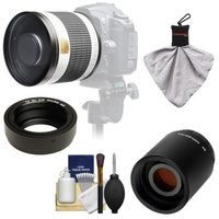 Samyang 500mm f/6.3 Mirror Lens (White) with 2x Teleconverter (=1000mm) for Olympus OM-D EM-5, Pen E-P2, E-P3, E-PL2, E-PL3, E-PM1 & Panasonic Micro 4/3 Digital Cameras