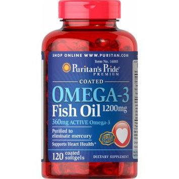 Puritan's Pride Omega-3 Fish Oil Coated 1200 mg (360 mg Active Omega-3)-120 Coated Softgels
