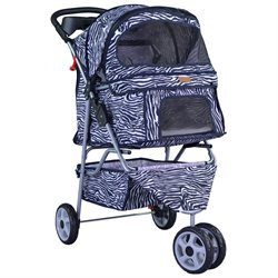 New BestPet Zebra Fashion 3 Wheels Pet Dog Cat Stroller w/RainCover