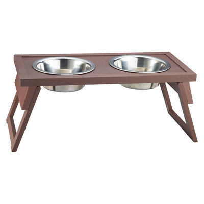 New Age Pet Habitat N Home HiLo Diner Pet Food Platform - Espresso Espresso Small