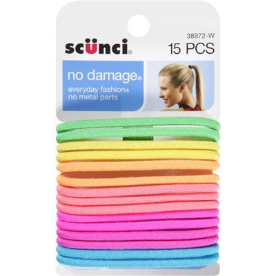 Scunci No Damage Hair Ties, Neon, 15 count