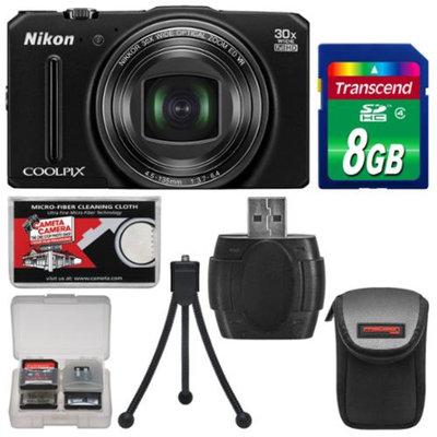 Nikon Coolpix S9700 Wi-Fi GPS Digital Camera (Black) - Factory Refurbished with 8GB Card + Case + Flex Tripod + Kit