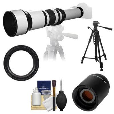 Samyang 650-1300mm f/8-16 Telephoto Lens (White) with 2x Teleconverter (=650-2600mm) + 58