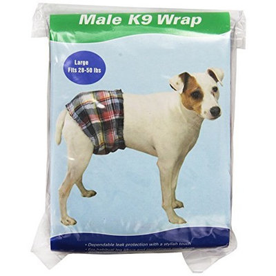 Clean Go Pet Cotton/Polyester Male K-9 Pet Wrap, Large, Multi-Plaid