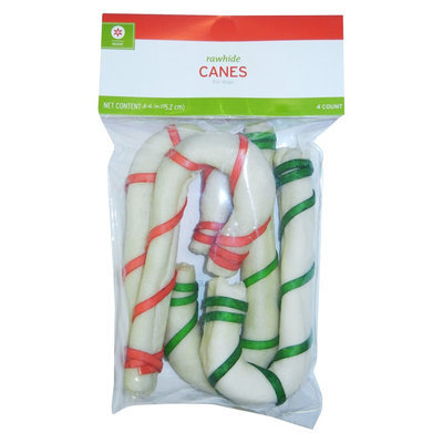 Rsc International Holiday Rawhide Canes 6in-4ct