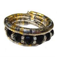 December Diamonds Silver/Goldtone Black Fashion Jewelry Stretch Adjustable Snake Bracelet