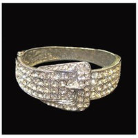 December Diamonds Silvertone Crystal Buckle Fashion Jewelry Cuff Bracelet 8