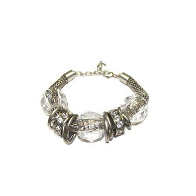 December Diamonds Clear Faceted Ball, Crystal and Antique-Silvertoned Chain Mail Jewelry Bracelet