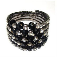 December Diamonds Silver Black Beaded Crystal Fashion Jewelry Stretch Adjustable Snake Bracelet