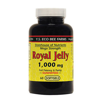 YS Royal Jelly/Honey Bee Royal Jelly Mega Strength 1000 MG - 60 Softgels - Bee Products
