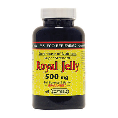 YS Royal Jelly/Honey Bee Royal Jelly Super Strength 500 MG - 60 Softgels - Bee Products