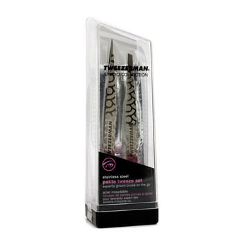 Tweezerman Petite Tweeze Set: Slant Tweezer + Point Tweezer - (Regency Finish w/ Silver Leather Case) 2pcs
