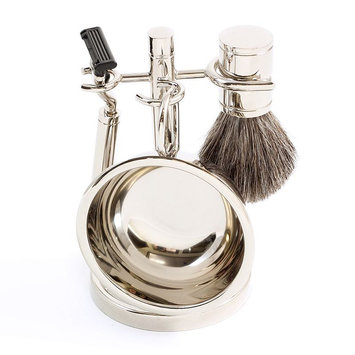 Bey-berk Four Piece Chrome Plated Shaving Shave Set Includes: Mach 3