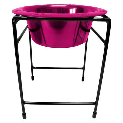Platinum Pets Single Diner Stand with 54 oz Rimmed Bowl - Raspberry