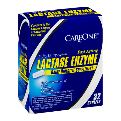 CareOne Lactase Enzyme Dairy Digestive Supplement Caplets - 32 CT