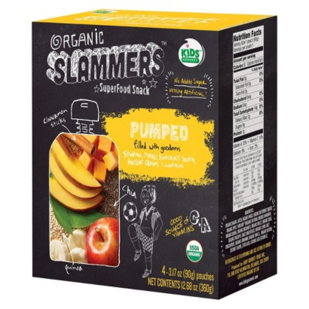 Baby Gourmet Foods Inc. Organic Slammers Superfood Snack Pumped Fruit & Yogurt Filled Pouches