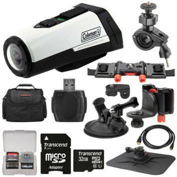 Coleman Aktivsport CX9WP GPS HD Video Action Camera Camcorder (White) with 32GB Card + Car Suction Cup & Dashboard Mounts + Case + HDMI Cable + Kit