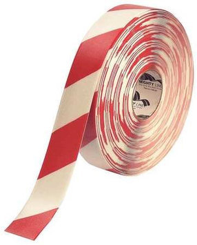 Mighty Line Industrial Floor Tape (Roll, Red/White, Vinyl). Model: 2RWCHVRED