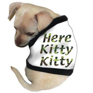 Pet Tease Here Kitty Kitty Dog Tank, White