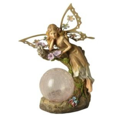 Moonrays Outdoor Polyresin Solar Powered Color-Changing LED Garden Fairy with Crackle Glass Globe Statue