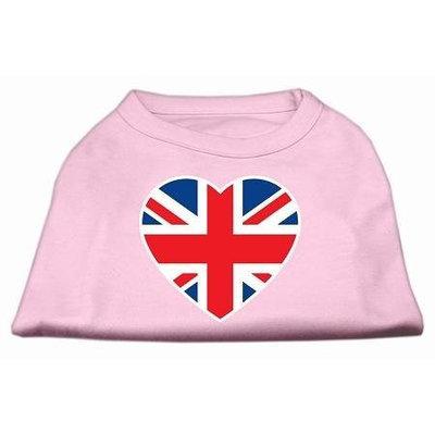 Ahi British Flag Heart Screen Print Shirt Light Pink XXL (18)
