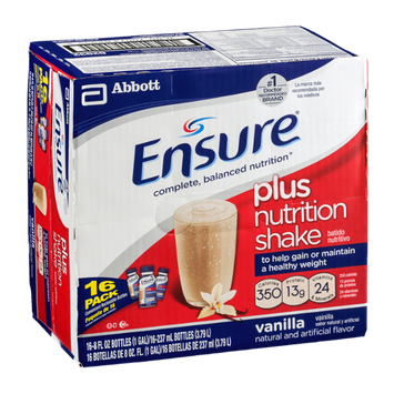 Ensure Plus Nutrition Shakes Vanilla - 16 CT