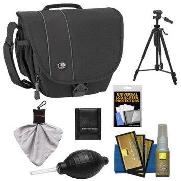 Tamrac 3442 Rally 2 Digital SLR Camera Case (Black) with Tripod + Nikon Cleaning Kit for Nikon D3200, D5200, D5300, D7100, D600, D800