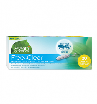 Seventh Generation Free & Clear No Applicator Regular Tampons