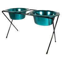 Platinum Pets Double Diner Feeder with Two 53 oz Rimmed Bowls - Teal