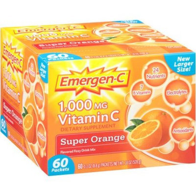 Emergen-C Vitamin C Super Orange Flavored Fizzy Drink Mix, 1000mg, 18 oz