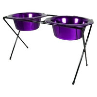 Platinum Pets Double Diner Feeder with Two 12 oz Rimmed Bowls - Purple