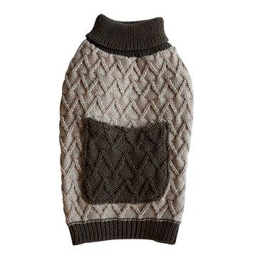 Royal Animals Knit Dog Sweater with Pocket, Size: XS (Beige/Khaki)