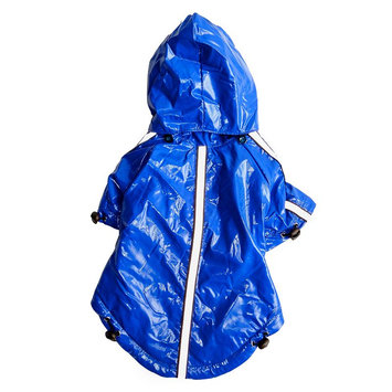Royal Animals Dog Raincoat with Removable Hood, Size: XS (Blue)