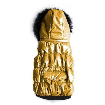 Royal Animals Shiny Puffer Dog Coat with Pocket, Size: XS (Yellow)