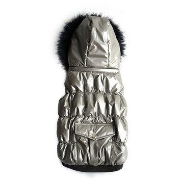 Royal Animals Shiny Puffer Dog Coat with Pocket, Size: XS (Grey)