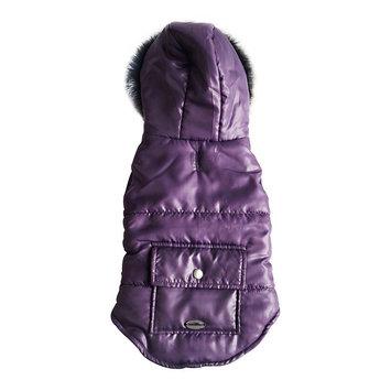 Royal Animals Puffer Dog Coat with Pocket, Size: XS (Purple)