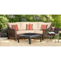 Grand Basket Co Threshold Rolston 3-Piece Wicker Patio Sectional Conversation