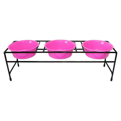 Platinum Pets Triple Diner Stand with Three 1 Pint Dishes - Pink