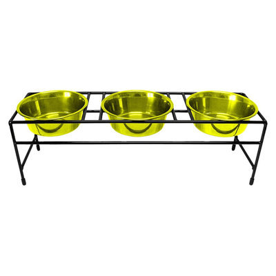 Platinum Pets Triple Diner Stand with Three 1 Pint Dishes - Corona Lime