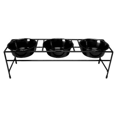 Platinum Pets Triple Diner Stand with Three 1 Pint Dishes - Black
