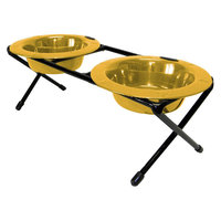 Platinum Pets Double Diner Feeder with Two 6 oz Rimmed Bowls - Gold